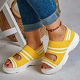 HHZY Sandalias Suaves y Cómodas para Mujer Sandalias de Cuña Transpirables de Moda Sandalias con Punta Abierta de Verano con Correa Elástica Zapatos Zapatillas de Deporte,Amarillo,US6/EU37