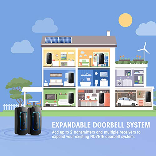 Wireless Doorbell, NOVETE 1300ft Long Range Door Bells Chime, IP55 Waterproof Electric Cordless Doorbell, 1 Push Button and 2 Plug-in Receivers with LED Flash, 52 Melodies, 5 Volume Levels