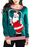 Tipsy Elves Ugly Christmas Sweaters for Women Break The Internet Hilarious Social Media Santa Claus Green Pullover Size Small
