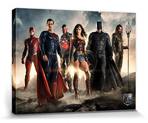 1art1 Justice League - Movie, Teaser Bilder Leinwand-Bild Auf Keilrahmen | XXL-Wandbild Poster Kunstdruck Als Leinwandbild 80 x 60 cm