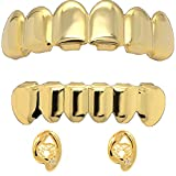 14k Gold Plated Hip Hop Teeth Grillz Caps Top & Bottom Set + 2 Free Open Face Cz Single Teeth