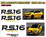 Multiart Design Kit de 3 pegatinas para New Clio RS 16 Trophy, Renault Sport New Logo 2016 (negro mate)