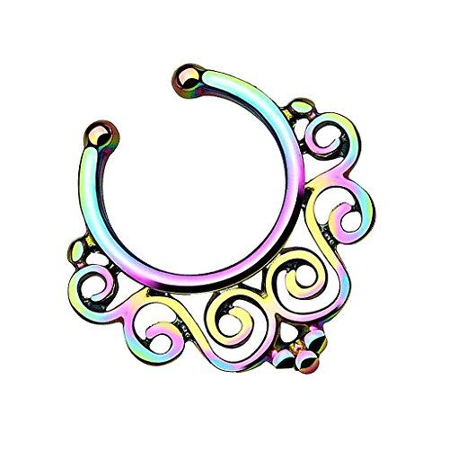 Piersando Fake Piercing Ring für Septum Tragus Helix Ohr Nase Lippe Brust Intim Tribal Vintage Nasenpiercing Nasenring Ohrpiercing mit Blumen Rainbow