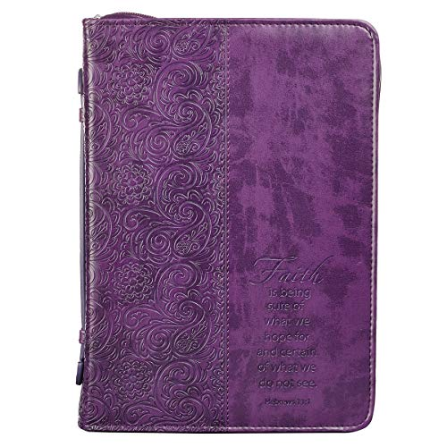 Christian Art Gifts Purple Faux Leather Bible Cover for Women | Faith Purple Paisley- Hebrews 11:1 | Zippered Case for Bible or Book w/Handle, Large