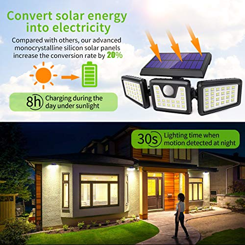 Solar Lights Outdoor 3 Heads, Claoner 70 LED Solar Motion Sensor Security Light with 360° Wide Lighting Angle, Easy to Install, IP65 Waterproof Durable Solar Powered Flood Lights for Outside - Black