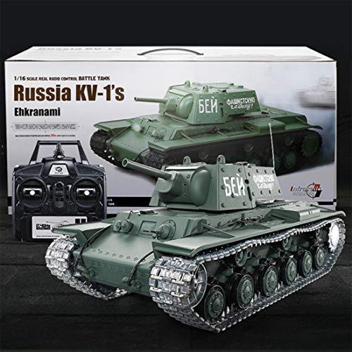 deguojilvxingshe 1:16 KV soviético - 1s tanque pesado modelo 2.4G militar teledirigido con sonido Smoke Shooting, modelo de tanque RC con alta simulación