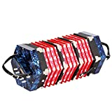 AKDSteel Concertina de 20 botones con bolsa de transporte para adultos primario profesional de juego hexagonal acordeón, azul