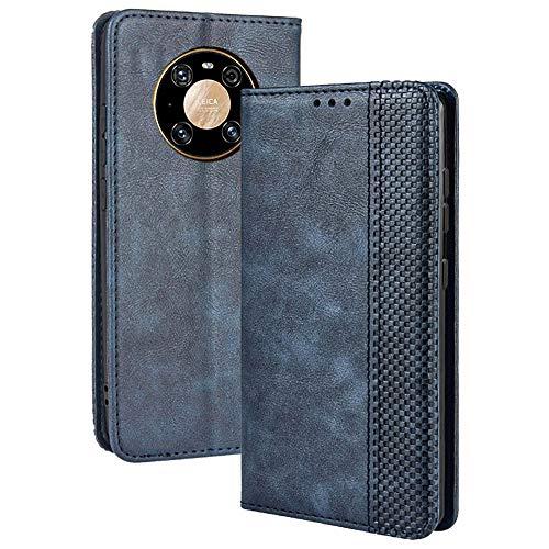 TANYO Leder Folio Hülle für Huawei Mate 40 Pro, Premium Flip Wallet Tasche mit Kartensteckplätzen, PU/TPU Lederhülle Handyhülle Schutzhülle - Blau