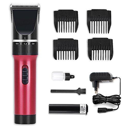 KYG Haarschneidemaschine Set Profi Haarschneider mit 4 Kammaufsätze, Haarschneider für Akku-und Netzbetrieb für Männer Kinder, X6, Rot