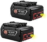 Topbatt 2Pièces 18V 5.0Ah Remplacement pour Bosch Batterie BAT609 BAT609G BAT610G BAT618G BAT619 BAT621 BAT620 avec indicateur de charge LED Outils électriques sans fil