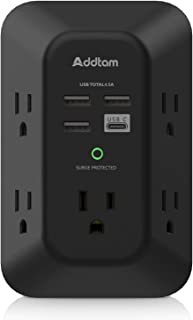 USB Wall Charger Surge Protector - Addtam 5 Outlet Extender with 4 USB Charging Ports ( 1 USB C, 4.5A Total), 3-Sided 1800...