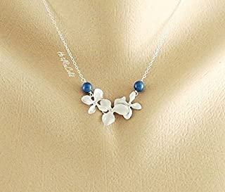 Sterling Silver Orchid and pearls Necklace, Bridesmaids Pearl necklace , Blue Swarovki pearl, wire wrapped orchid, Wedding orchid theme