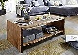 SAM Couchtisch Nils, Akazienholz massiv & naturfarben, Beistelltisch mit Ablage, echte Baumkante, 120 x 45 x 70 cm - 2