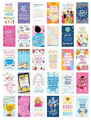 bloom daily planners Mom-pliment Card Deck - Cute Inspirational Mini Quote Cards and Affirmations for Mothers - Set of Thirty Small Compliment Cards - 2' x 3.5'