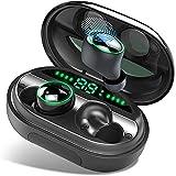 Auriculares Bluetooth, Donerton IP8 Impermeable 150H Playtime Auriculares Inalámbricos con Hi-Fi Estéreo, In-Ear Auriculares con Caja de Carga y Micrófono Integrado, Pantalla LCD y Control Tactil