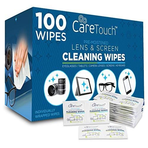 Care Touch Pre-Moistened Lens Cleaning Cloths | 100 Individually Wrapped Wipes