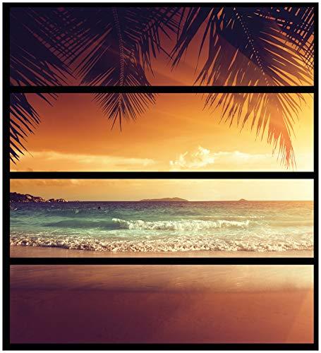 Wallario Möbelfolie/Aufkleber, geeignet für IKEA Malm Kommode - Sonnenuntergang am Strand in der Karibik mit 4 Schubfächern