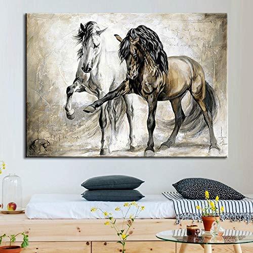 wtnhz Vintage Zwei Pferde Leinwand Tier Poster Home Dekoration Leinwand Wandkunst Bild für Wohnzimmer Kein Rahmen