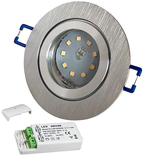 LED Bad Einbaustrahler 12V inkl. 1 x 3W SMD LM Farbe BiColor IP44 LED Deckenleuchte Neptun Rund 3000K mit Trafo