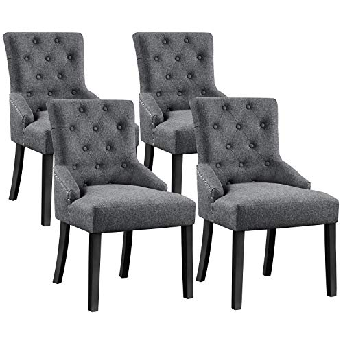 YAHEETECH 4pcs Dining Chairs Modern Accent Chairs Upholstered Fabric Chairs Elegant Button Tufted Chair with Nailhead Trim and Wood Legs for Home and Restaurants, Gray