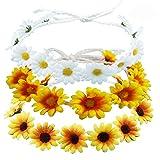 3Pcs Sunflower Headband Crown Headpiece Daisy Headband for Women Girl Adjustable Hair Wreath Garland Accessories Bridal Wedding Parties Festivals Photo Props BHH14-3