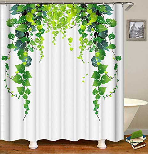 Fabric Shower Curtain,Lush Vine Green Leaves Ivy Plant on White Background Polyester Designer Cloth, Print Decorative Bathroom Curtains Include Hooks Set(72〃w by 72〃L) (2565)