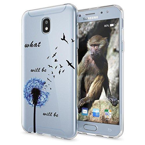 NALIA Cover Custodia compatibile con Samsung Galaxy J7 2017 (EU-Model), Protezione Silicone Trasparente Sottile Case, Gomma Morbido Ultra-Slim Protettiva Bumper Guscio, Designs:Dandelion Blu