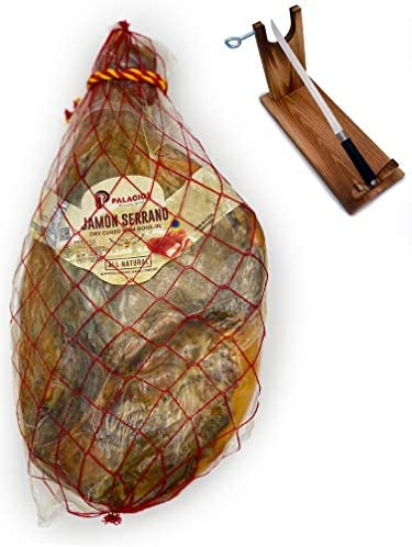 Serrano Ham Bone in from Spain Palacios 17 to19 Lb with Ham Stand Knife INCLUDED Dry Cured Jamon product image