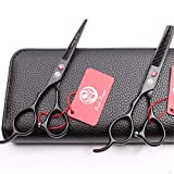 YLYT High-End Left-Handed Flat Teeth Scissors Set 5.5/6.0 Inch Stainless Steel Hairdressing Scissors, Easy to Create Any Hairstyle for Barbershops