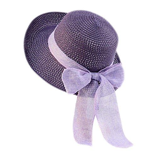 CAOLATOR Damen Strohhut Breite Krempe Sonnenhut Mit Brand Sommer Strand Hut UV Schutz Schlapphut für Outdoor-Aktivitäten (Lila)