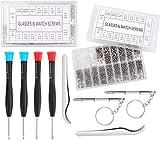 WUWEOT Eyeglass Repair Kit with 2000 Pcs Eyeglass Screws, Nose Pads, 6 Pack Screwdriver Set and 2 Pack Tweezers for Eyeglass, Sunglass, Spectacles & Watch Repair