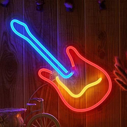 Diseños Artísticos 3D Letrero de Luz de Neón LED de Guitarra Luz de Decoración de Pared con Letrero de Neón Artístico para House Bar Pub Hotel Beach Recreational Operado por USB