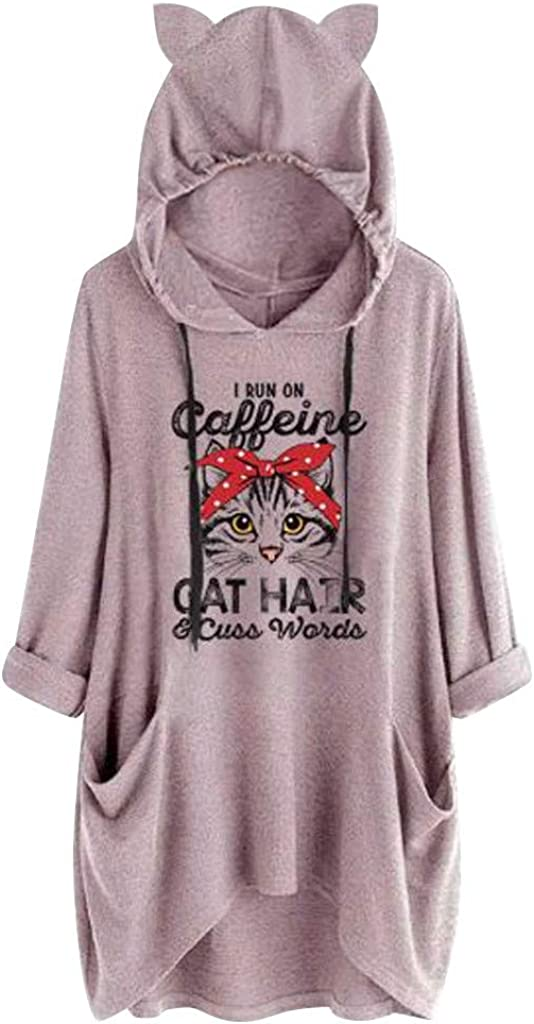 POTO Tops for Women Pattern Print Long Sleeve Tops Casual Tee Shirts Pullover Hoodies Blouses with Pocket