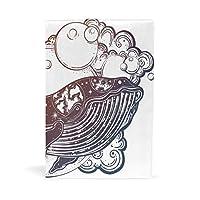 ブックカバー 文庫 a5 本 カバー 革 レザー クジラ 手描き ハレーション 海 天体 おしゃれ かわいい 文庫本カバー ファイル 資料 収納入れ オフィス用品 読書 雑貨 プレゼント