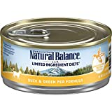 Natural Balance L.I.D. Limited Ingredient Diets Wet Cat Food, Duck & Green Pea Formula, 5.5 Ounce Can (Pack of 24)