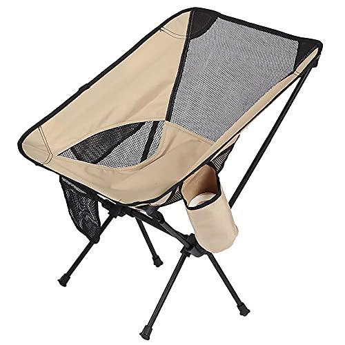 Silla plegable para acampar al aire libre, silla ultraligera del ocio del jardín, taburete de pesca de la playa con bolsillo