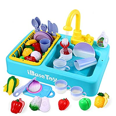 iBaseToy Color Changing Kitchen Play Sink Toy with Running Water - 31 Pieces Kids Electric Dishwasher, Cutting Food, Automatic Water Cycle System, Pretend Role Play Sink Toy for Toddlers Boys Girls
