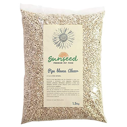 Sunseed Complemento alimenticio o Premio. Pipa Blanca Alazor Cartamo para jilgueros, Canarios, Aves Silvestres o pequeños rodedores como Chinchillas, cobayas, Hamsters 1,5 Kg
