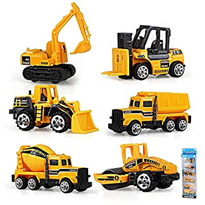 Gimilife Play Vehicles, 6 Set Toy Construction Vehicles, Assorted Trucks Mini Car Toy, Friction Powered Push & Play Engineering Vehicles for Age 3 Years and Up Boys and Girls as Gift from Gimilife