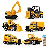 Gimilife Play Vehicles, 6 Set Toy Construction Vehicles, Assorted Trucks Mini Car Toy, Friction Powered Push & Play Engineering Vehicles for Age 3 Years and Up Boys and Girls as Gift