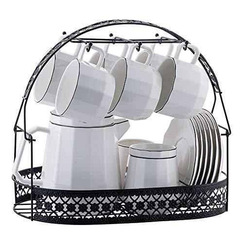 FMOGE Ceramics Coffee Cup Saucer Set with 16 Pieces, Nordic Style Tea Cup Saucer Set Porcelain Tea Set with Teapot and Milk Jug,Tea Set Gift
