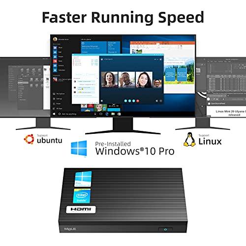 MeLE Quieter2 Fanless Mini PC Intel Celeron J4125 8GB DDR4 128GB eMMC Mini Computer with Windows 10 Pro Mini Desktop PC 4K Dual-Screen Output, Dual WiFi, Gigabit Ethernet, BT4.2, VESA Mount