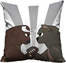 YouXianHome Pillow Case Cushion Cover Image of Bull Bear Preparing to Fight Striped Background Wild Competition Clip Printing Dyeing (Double-Sided Printing) 24x24 inch