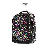 Mehrfarbiger Rucksack mit Rädern, großes Gepäck, Rad 18 cm, kann Treppen klettern, für Reisen, Arbeit, Schule, Laptop, Trolley-Taschen, B - 11, 51x32x25cm, Rollkoffer