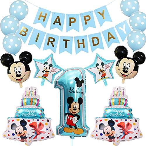 Palloncini Party Mickey, BKJJ Decorazioni di compleanno di Topolino Palloncino Compleanno Numero 1 Topolino e Minnie Forniture per Feste Baby Boy Primo Compleanno Decorazione (Blu)