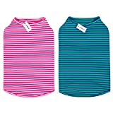 LEVIBASIC Dog Shirts Cotton Striped T-Shirts, Breathable Basic Vest for Puppy and Cat, Super Soft Stretchable Doggy Tee Tank Top Sleeveless, Fashion & Cute Color for Boys and Girls (XXL, Pink+Green)