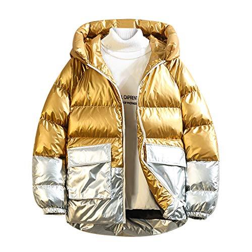 Houshelp Men's Lightweight Wind-Resistant Puffer Jacket Hooded Quilted Cotton Coat Windproof Warm Winter Coat Gold