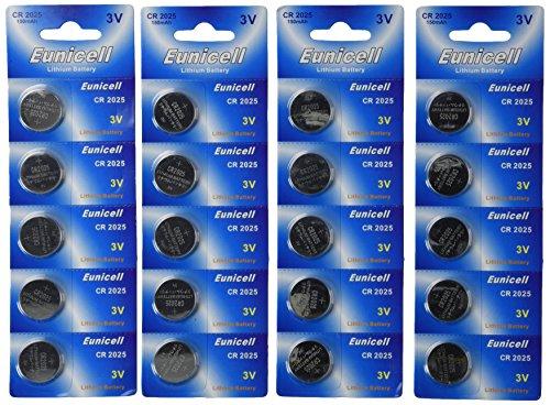 Eunicell - Confezione di 20 batterie a bottone CR2025 5003LC al litio da 3 V