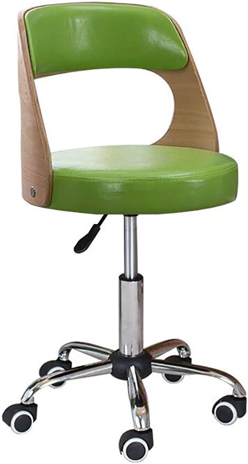 360° redary Adjustable Height Work Chair with Backrest - Office Lab Factory Barber Stool-Green