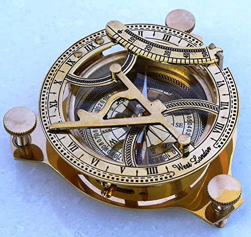Yaman Antique Sonnenuhr Kompass 10,2 cm Massives Messing Sonne Zifferblatt Schöne nautische Sonnenuhr Kompass